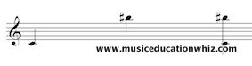 Melodic and Harmonic interval of a compound augmented 7th (C to B sharp) on the treble clef staff.