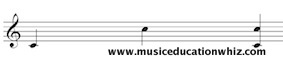 Melodic and Harmonic interval of an 8th or octave (C to C) on the treble clef staff.