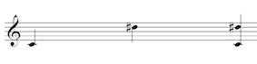 Melodic and Harmonic interval of a compound augmented 2nd (C to D sharp) on the treble clef staff.