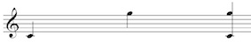 Melodic and Harmonic interval of a compound perfect 5th (C to G) on the treble clef staff.