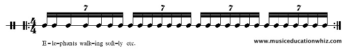 Elephants walking softly underneath septuplet semiquavers/sixteenth notes