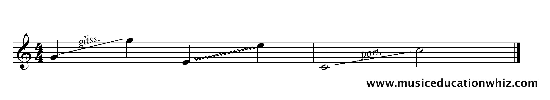 wiggly diagonal lines between a low note and a high note, with or without bliss. or port. written above