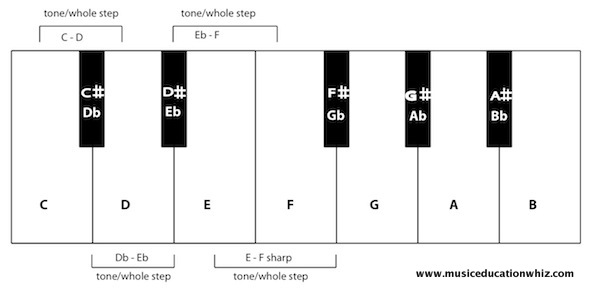 Diagram of keyboard with tones/whole steps and semitones/half steps labelled