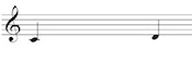 Melodic interval on the treble clef staff: C to D