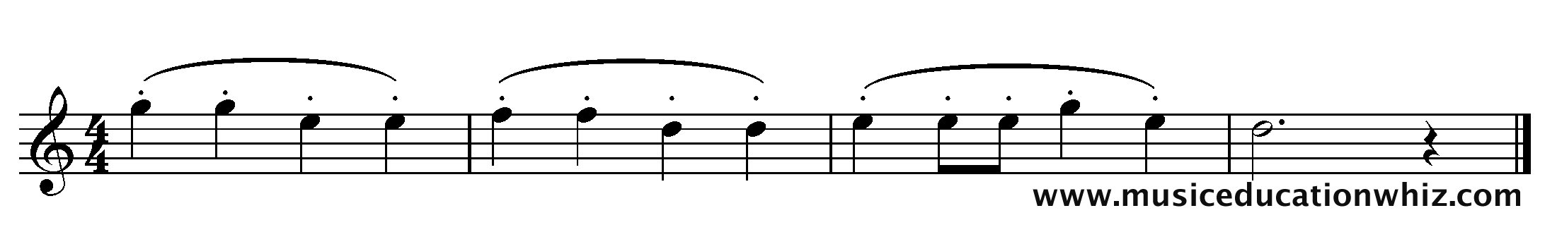 The music for 'Mary Mary Quite Contrary' with mezzo staccato markings (dots).