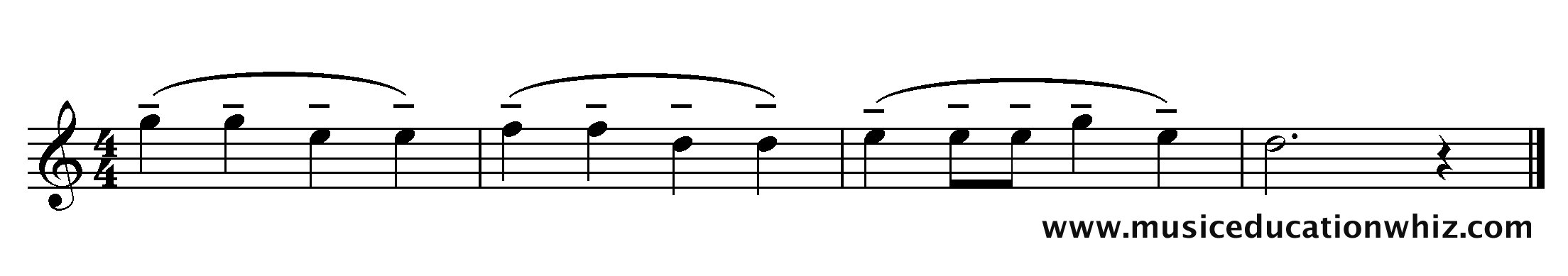 The music for 'Mary Mary Quite Contrary' with mezzo staccato markings (dashes).