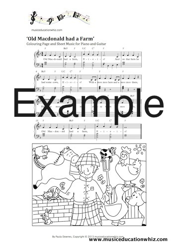 An example of the sheet music and colouring pages