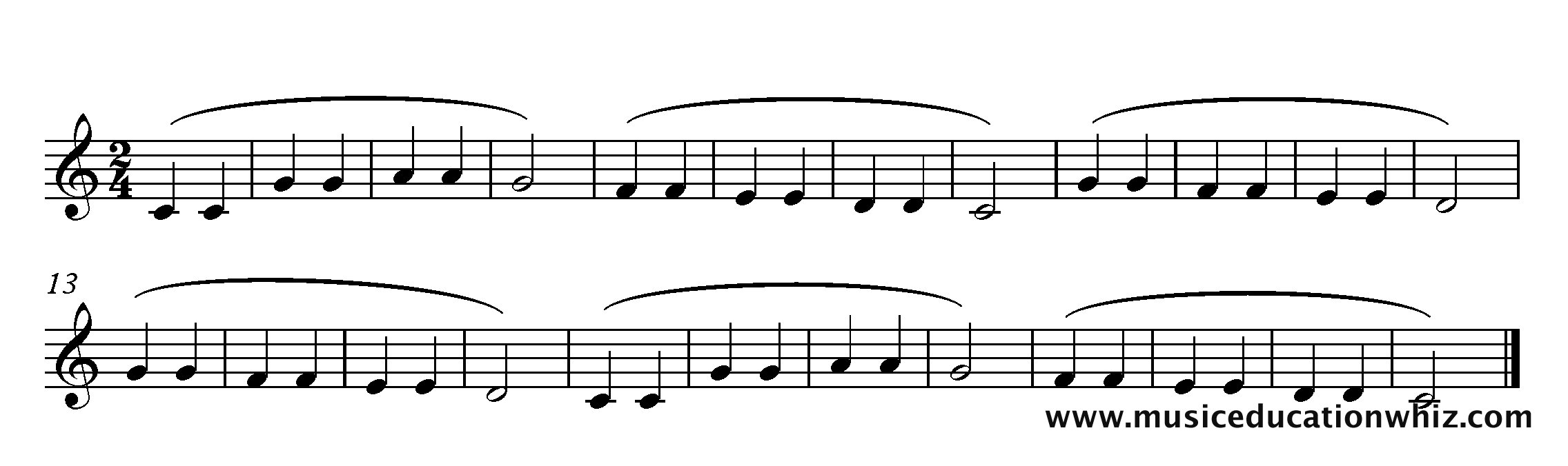 The music for 'Twinkle Twinkle Little Star' with phrase marks