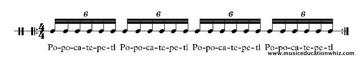 Popocatepetl underneath sextuplet semiquavers/sixteenth notes