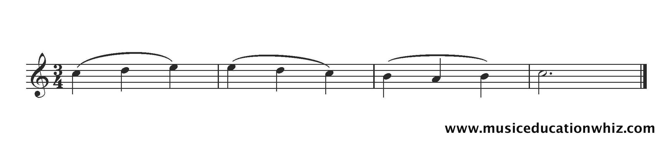 Passage of music with slurs