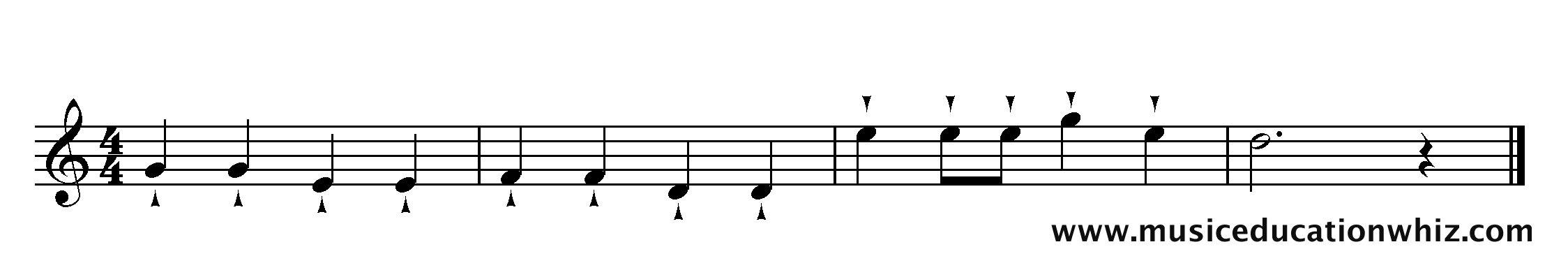 The music for 'Mary Mary Quite Contrary' with staccatissimo markings.