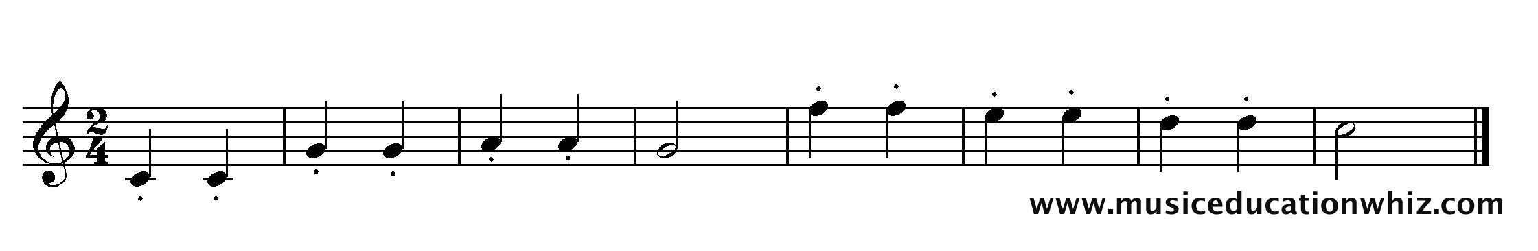The music for 'Twinkle Twinkle Little Star' with staccato markings.