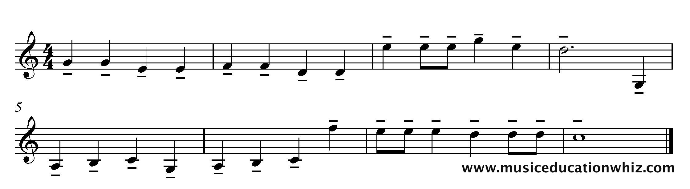 The music for 'Mary Mary Quite Contrary' with tenuto markings.