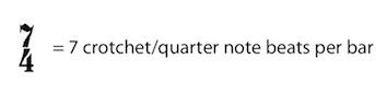 7/4 = 7 crotchets/quarter notes per bar