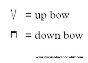 Symbols for up and down bows