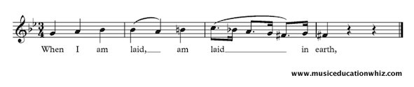 The music for Purcell's 'When I am laid in earth' to show vocal slurring.