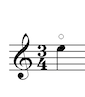 An E on the treble clef staff with a circle above it.