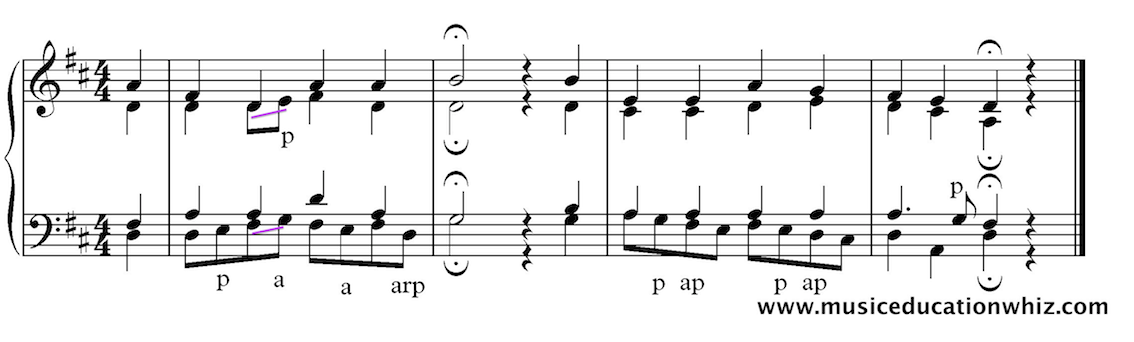 Examples of passing notes, accented passing notes, auxiliary notes and arpeggiations