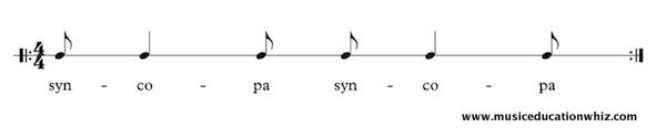 syncopa underneath quaver/eighth note, crotchet/quarter note, quaver/eighth note, repeated.