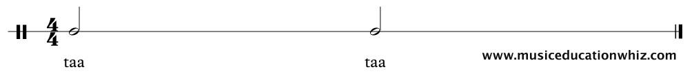 taa taa underneath two minims/half notes