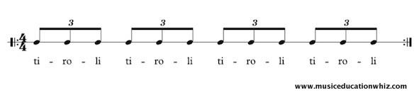 tiroli underneath triplet quavers/eighth notes
