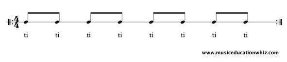 ti ti underneath 8 quavers/eighth notes